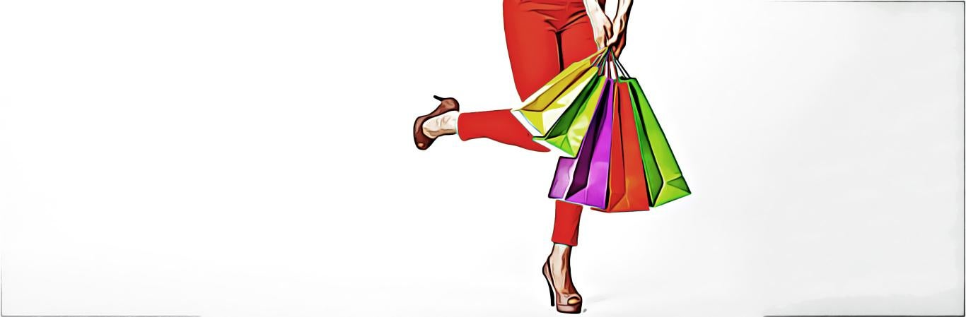 Bottom half of woman with colorful shopping bags